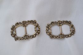 English Antique Silver Buckles - Victorian Hallmarked Birmingham 1900
